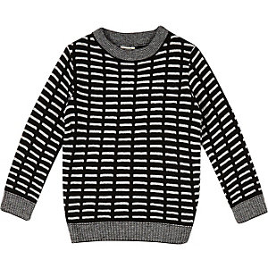 Mini boys black stripe sweater