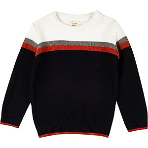 Mini boys navy block panel sweater