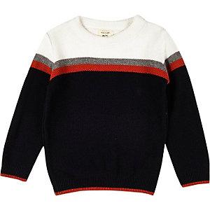 Mini boys navy block panel sweater