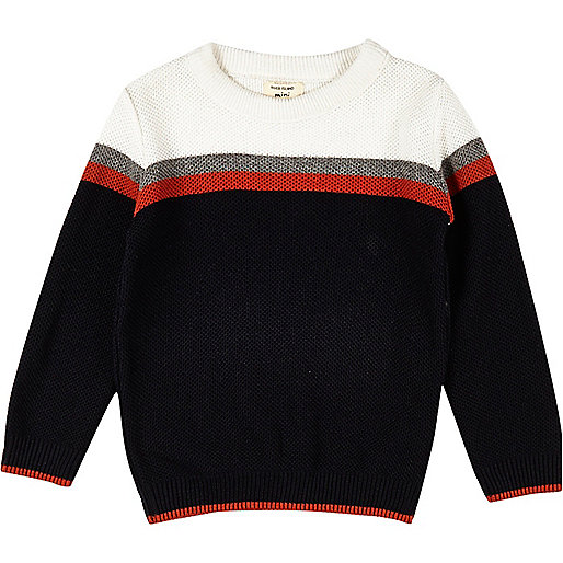 Mini boys navy block panel jumper