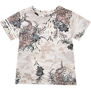 Mini boys orange oriental print t-shirt