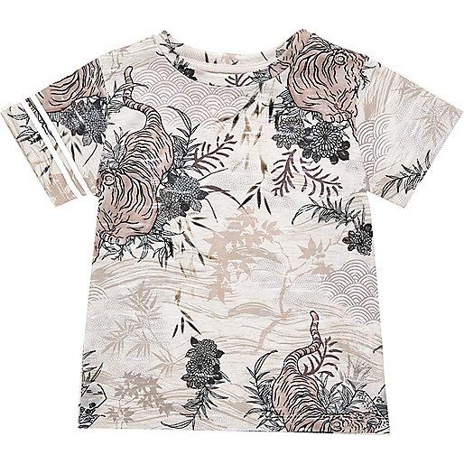 Mini boys orange oriental print t-shirt