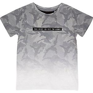 Mini boys grey faded print t-shirt