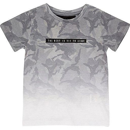 Mini boys grey faded print t-shirt