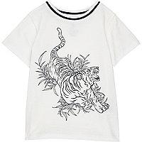Mini boys white tiger print t-shirt