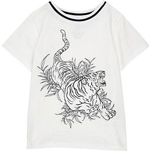 T-shirt imprimé tigre blanc pour mini garçon