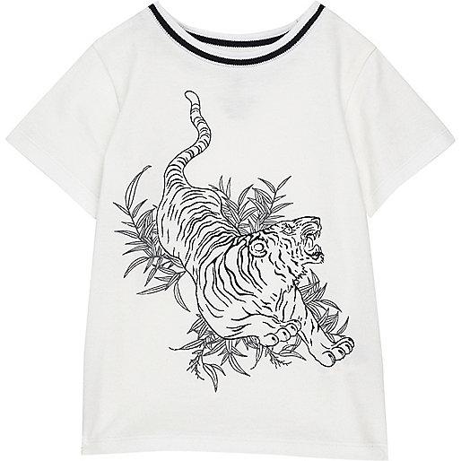 Weißes T-Shirt mit Tigermuster