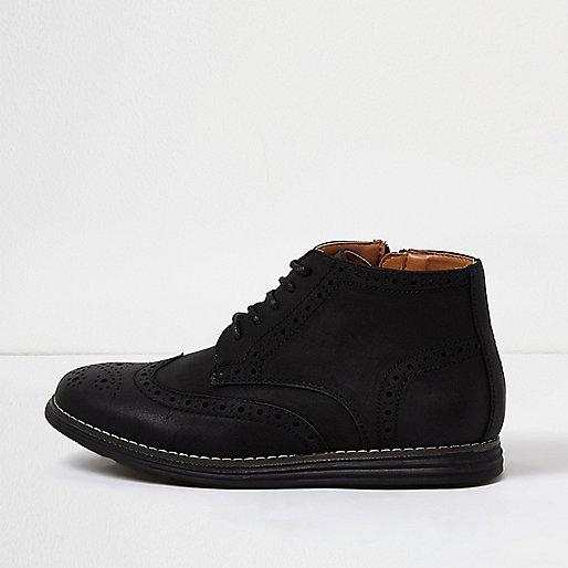 Boys black brogue boots
