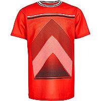 Boys red mesh sports print t-shirt