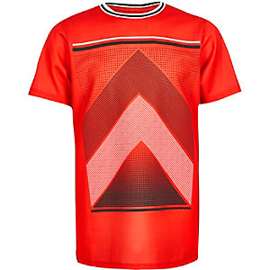 Boys red mesh sports print t-shirt