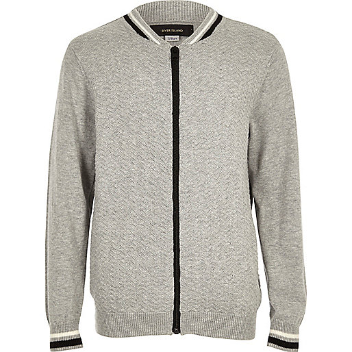 Boys grey knit bomber jacket