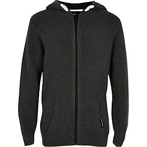 Sweat à capuche zippé en maille gaufrée gris pour garçon