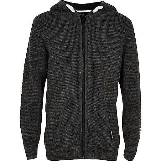 Boys grey waffle zip hoodie