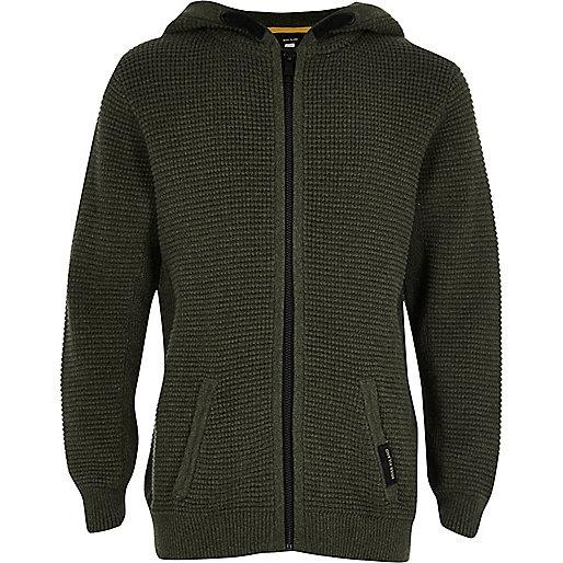 Boys khaki waffle zip up hoodie