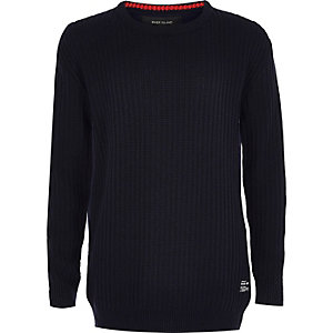 Boys navy ribbed jersey jumper