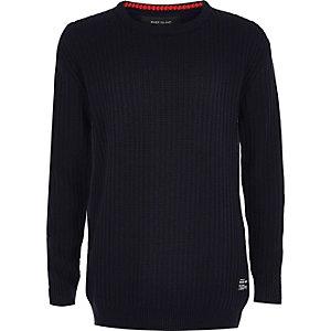 Pull en jersey bleu marine côtelé mini garçon