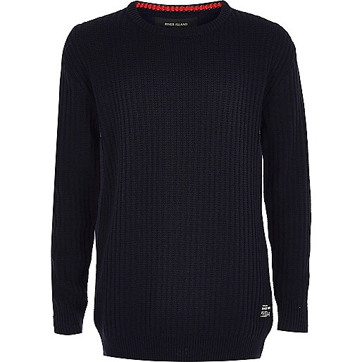Marineblauer Jersey-Pullover