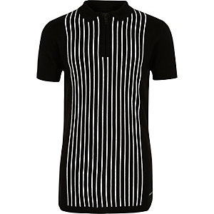 Boys black stripe knit zip polo shirt
