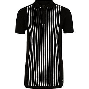 Polo en maille rayé noir zippé pour garçon