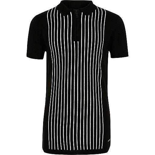 Schwarzes, gestreiftes Polohemd mit Reißverschluss