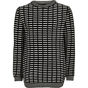 Boys black stripe jumper