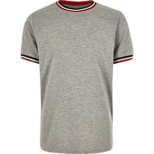 Boys grey marl ringer t-shirt