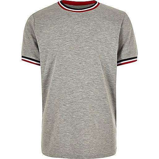 Boys grey marl ringer t-shirt