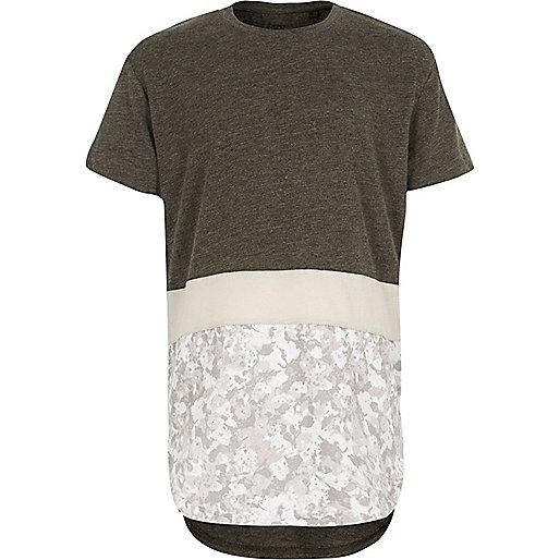 T-shirt imprimé camouflage contrastant blanc pour garçon
