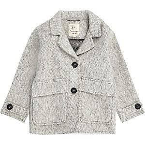 Manteau cardigan gris doux mini garçon