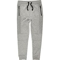 Pantalon de jogging gris chiné à entrejambe bas pour garçon