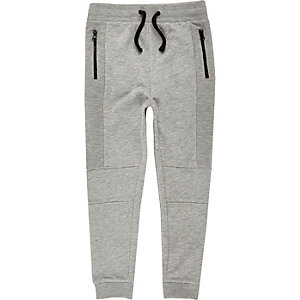 Boys grey marl dropped crotch joggers