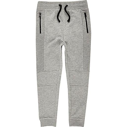 Boys grey marl dropped crotch joggers
