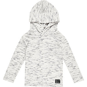 Mini boys white lightweight hoodie