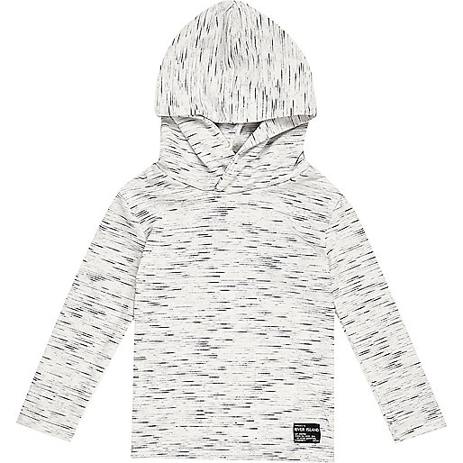 Mini boys white lightweight hoodie