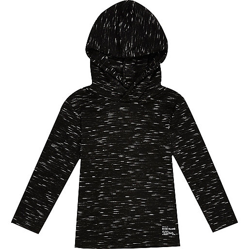 Mini boys black lightweight hoodie
