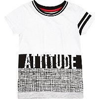 "Mini boys white ""Attitude"" print t-shirt"