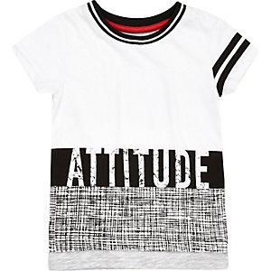 T-shirt à imprimé Attitude blanc pour mini garçon