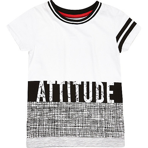 "Mini boys white ""Attitude"" print t-shirt"