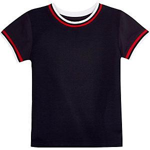 Mini boys navy ribbed t-shirt