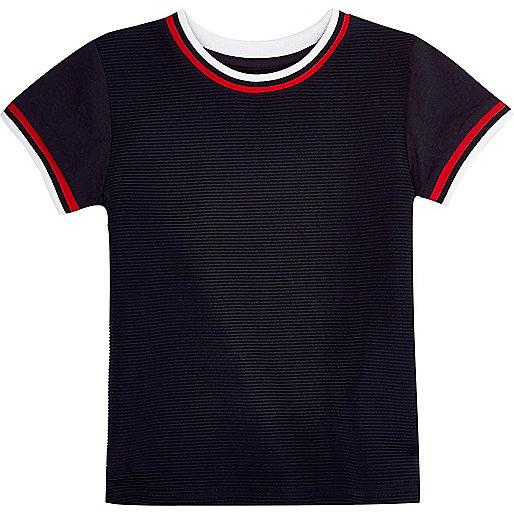 T-shirt bleu marine côtelé mini garçon