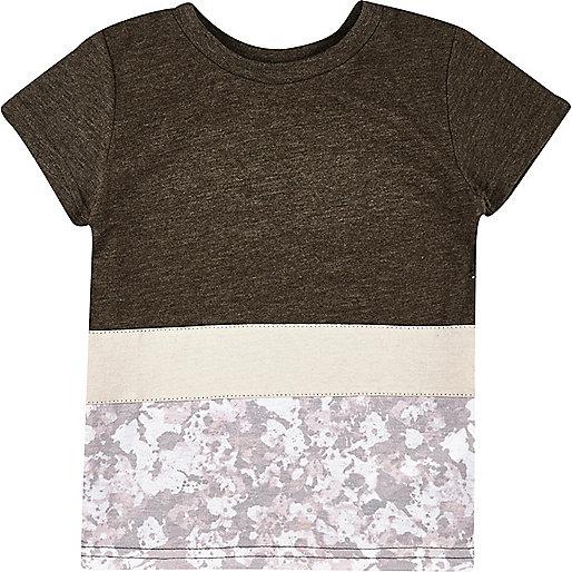 T-shirt blanc à empiècement contrastant mini garçon