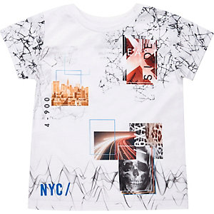 Mini boys white collage print t-shirt