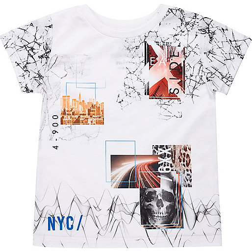 Mini boys white collage print t-shirt
