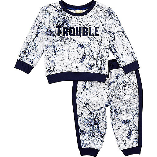 Mini boys grey marble print sweatshirt outfit
