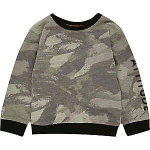 Mini boys khaki camo sweatshirt