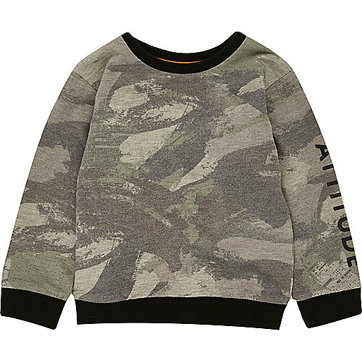 Sweatshirt in Khaki mit Camouflage-Muster