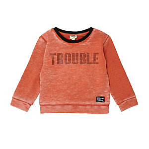 Mini boys orange slogan print sweatshirt