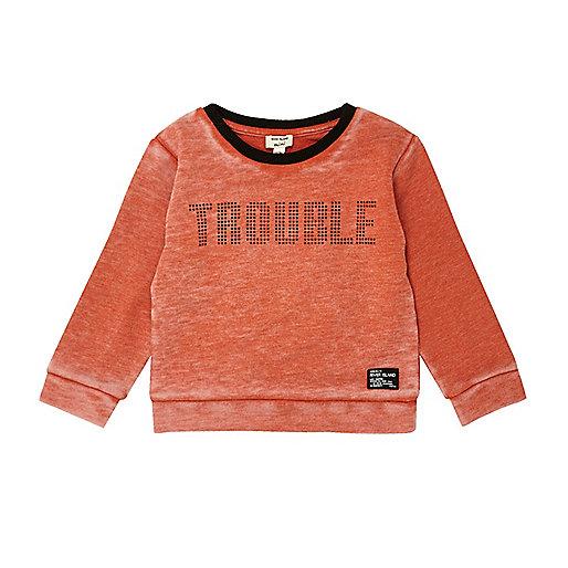 Mini boys orange slogan print sweatshirt