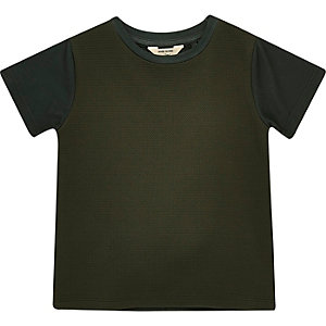 Mini boys khaki textured t-shirt