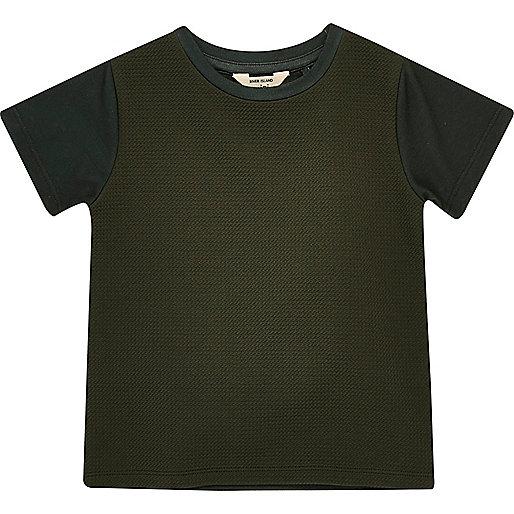 Mini boys khaki textured t-shirt